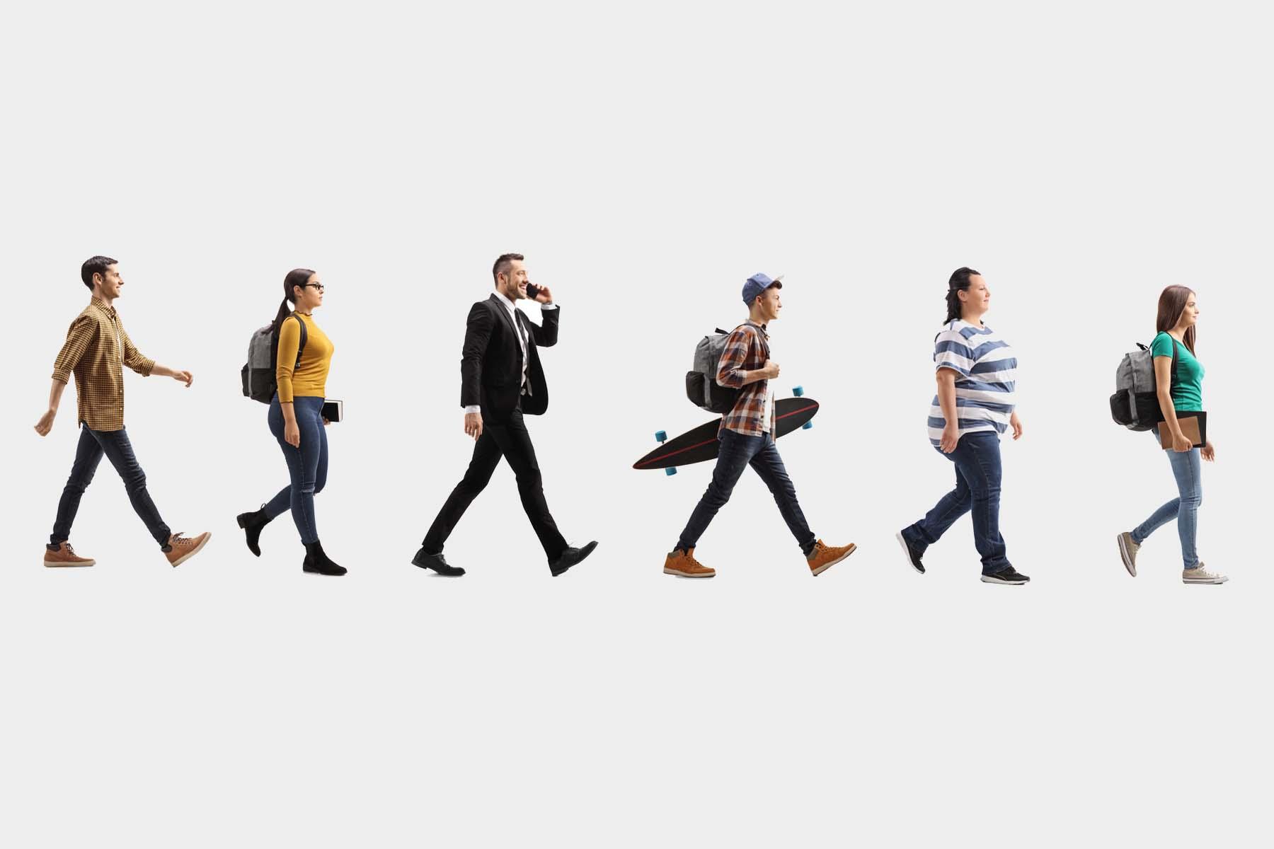 Line of people walking