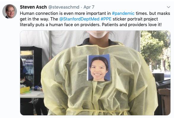 Tweet from Professor Steven Asch from Stanford University