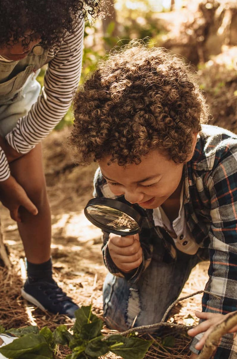 Child with magnifying glass in forest