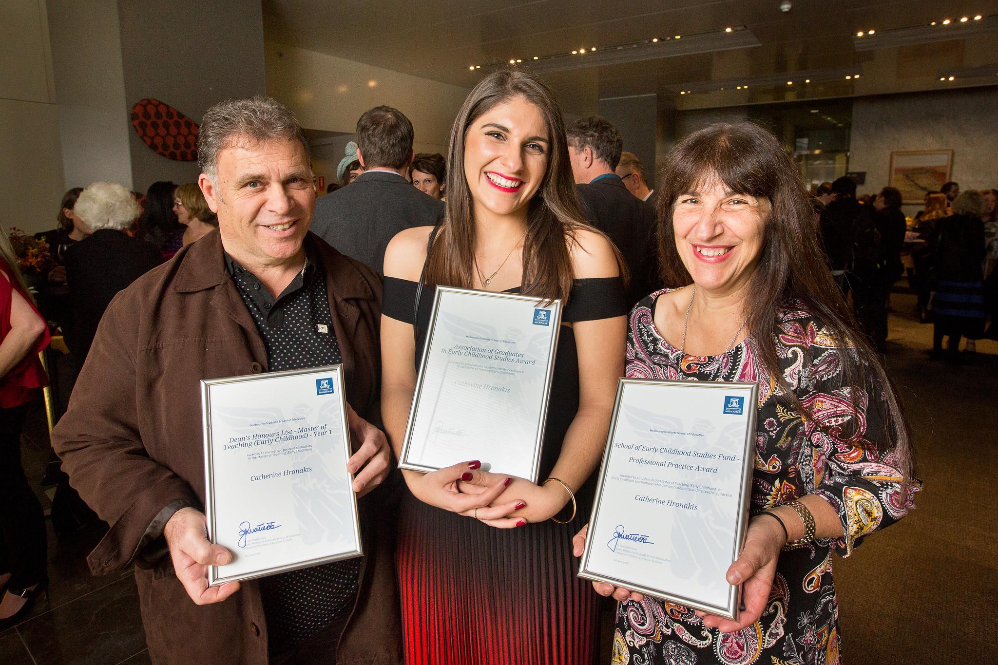 Catherine Hronakis with awards